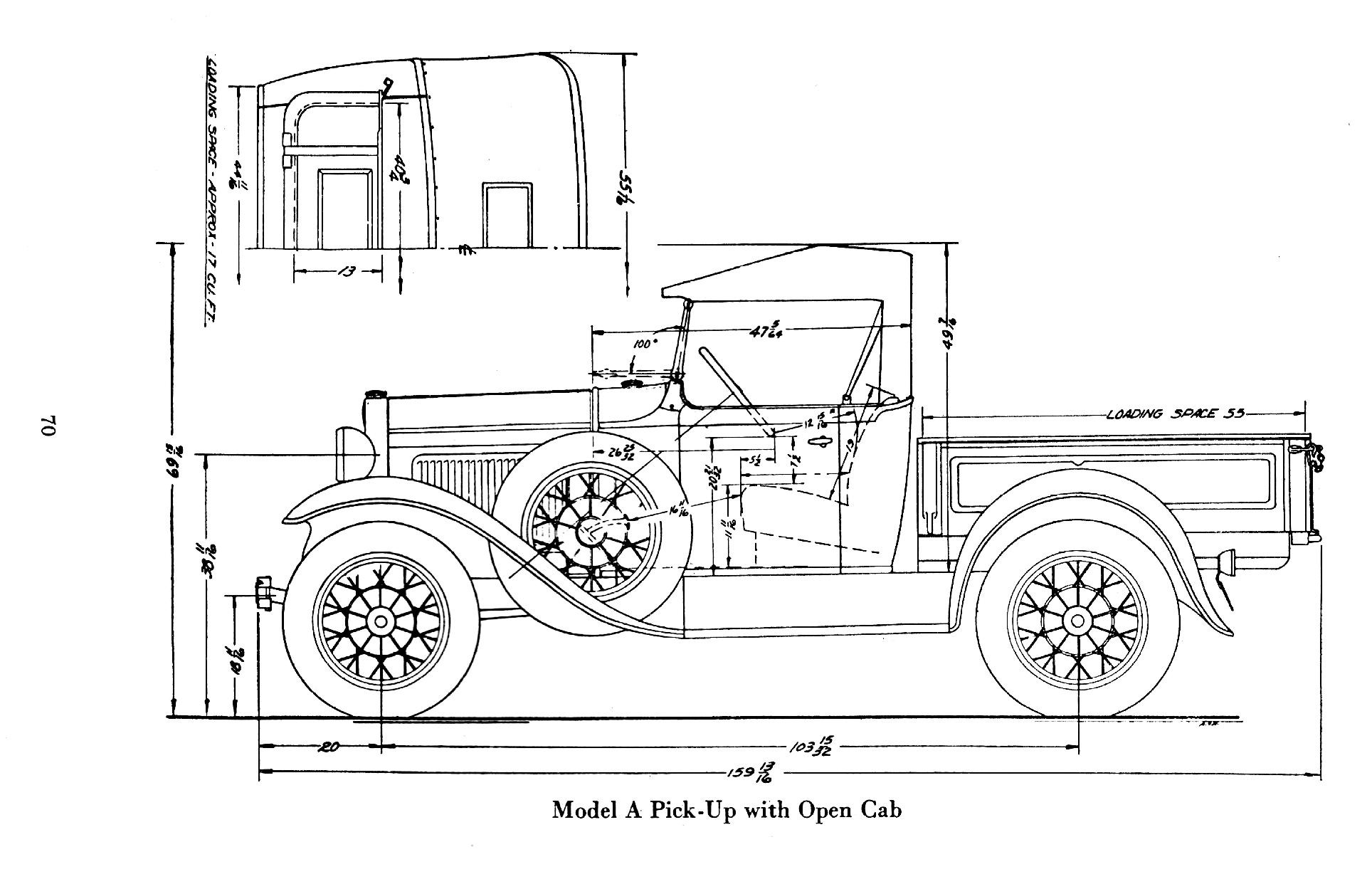 1929 ford model a roadster body dimensions